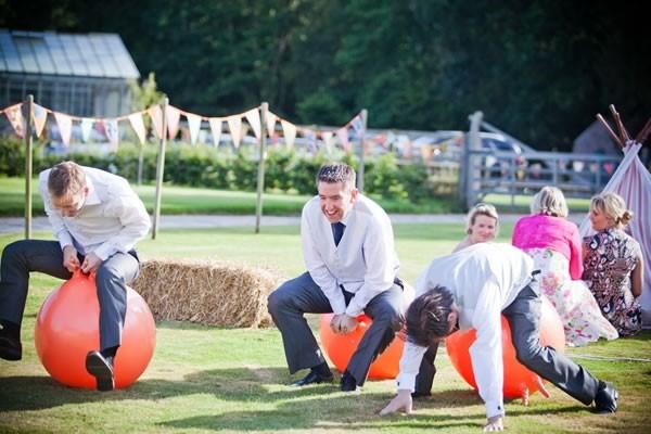 Wedding Guesting Having Fun on Bouncy Balls