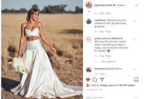 Steph Clair Smith in two piece wedding dress - 2020 wedding trends